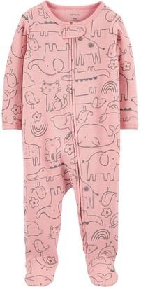 Carter's Baby Girl Animal 2-Way Zip Thermal Sleep & Play
