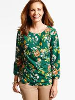 Talbots Delicate Flowers Pleat-Top Blouse