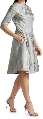 Teri Jon by Rickie Freeman Jacquard Midi Dress
