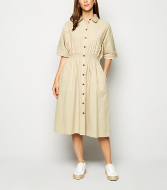 New Look Blue Vanilla Shirred Waist Midi Shirt Dress