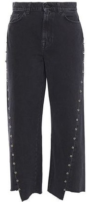 7 For All Mankind Cropped Studded High-rise Straight-leg Jeans