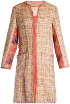 Etro Brocade-insert collarless tweed coat