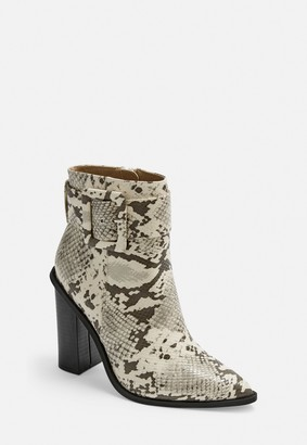Missguided Grey Snake Buckle Block Heel Pointed Ankle Boots