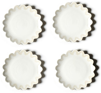"Coton Colors 11"" Arabesque Trim Scallop Edge Plates, Set of 4"