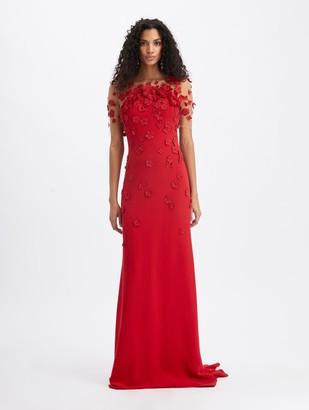 Oscar de la Renta Cady Short Sleeve Gown With Floral Embroidery