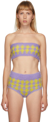 Ashley Williams Purple and Yellow Mohair Diamond Bra