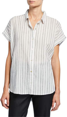 Eileen Fisher Plus Size Striped Button-Down Short-Sleeve Shirt