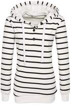 EOCEAN Womens Fashion Slim Stripes Hoodie Sweater Long sleeve (L, )