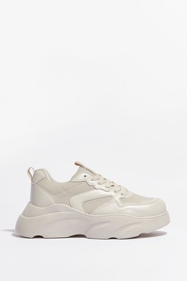 Nasty Gal Womens Cut and Run Faux Leather Mesh Chunky Trainers - Beige - 5, Beige