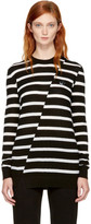 McQ Black & White Distort Stripe Swallow Badge Sweater