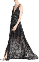Preen Printed Floor Length Dress with Embellishment