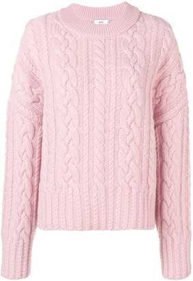 AMI Paris Crew Neck Cable Knit Oversize Sweater