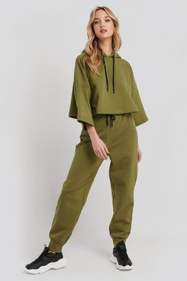 NA-KD Dipped End Drawcord Joggers Green