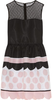 RED Valentino Tulle-paneled printed faille mini dress