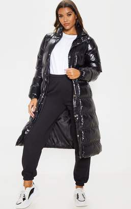PrettyLittleThing Black Maxi High Shine Fitted Puffer