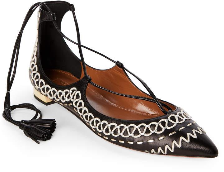 Aquazzura Black Christy Folk Lace-Up Flats