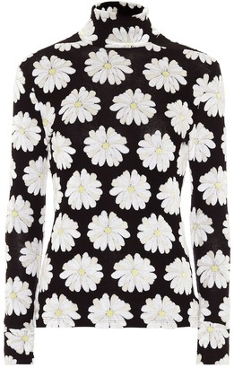 Paco Rabanne Floral stretch-cotton turtleneck top