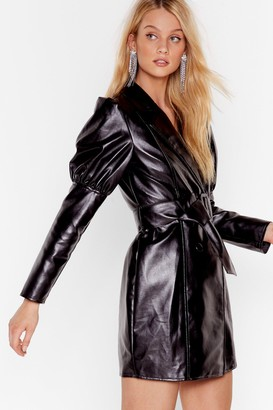 Nasty Gal Womens Too Much is Faux Leather Enough Mini Dress - Black - 10