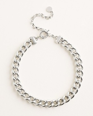 Chico's Silvertone Status Bib Necklace