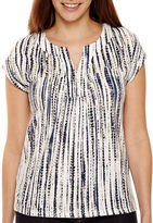 Liz Claiborne Short-Sleeve Split-Neck Extended Shoulder Tee - Tall