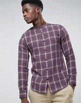 Selected Check Flannel Shirt With Granddad Collar