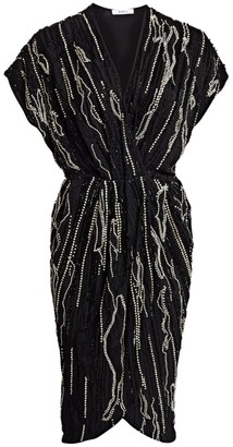 Amen Beaded Wrap Dress