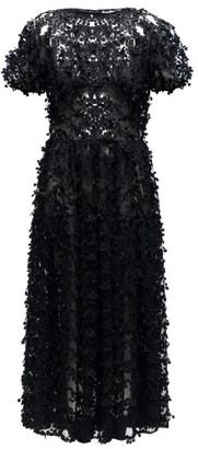 Cecilie Bahnsen Tia Floral-applique Tulle Midi Dress - Black