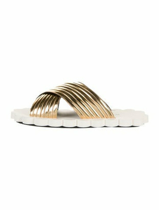 Marni Patent Leather Slides Gold