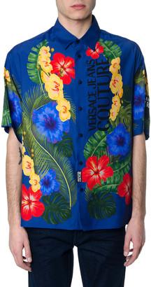 Versace Hawaii Print Blu Shirt