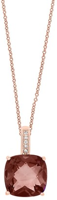 Effy June 14K Rose Gold, Smoky Quartz Diamond Pendant Necklace