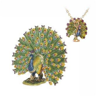 Proud as a Peacock Trinket Multi-colored Box with Pendant by Versil