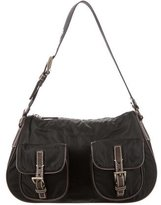 Prada Leather-Trimmed Tessuto Shoulder Bag