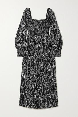 Rixo Marie Shirred Printed Voile Midi Dress - Black
