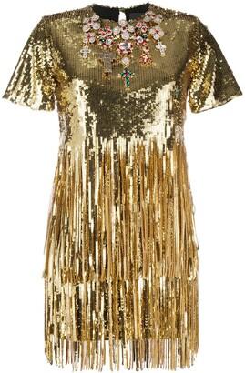 Philipp Plein Sequin Fringe Embellished Flapper Mini Dress