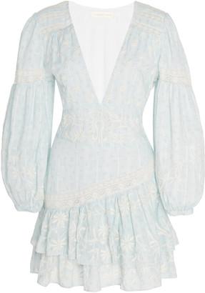 LoveShackFancy Abitha Ruffled Cotton Mini Dress