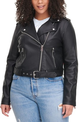 Levi's Women's Classic Asymmetrical Belted Faux Leather Motorcycle Jacket