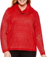 WORTHINGTON Worthington Long-Sleeve Oversized Cowlneck Sweater - Plus