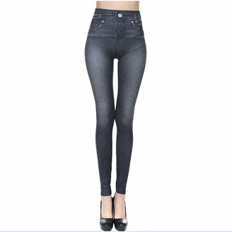 Humeng Jeans Women's Skinny High Waisted Slim Fit Stretch Denim Jeggings with Pockets Yoga Pants Trousers Legging(B)