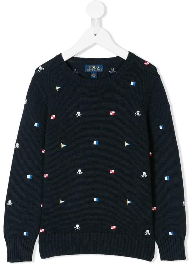 Ralph Lauren Kids Schiffli embroidered jumper