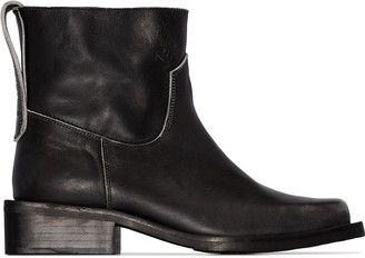 Ganni Distressed-Effect 40mm Ankle Boots