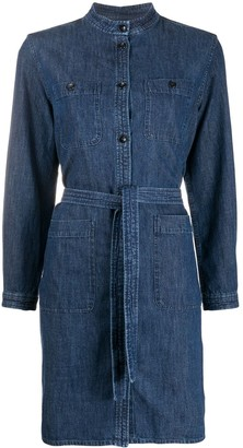 A.P.C. Button Down Tie Waist Denim Shirt