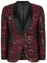 Topman Mens Red, Gold and Black Jacquard Blazer