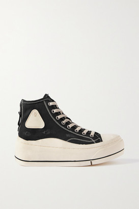 R 13 Distressed Canvas High-top Platform Sneakers - Black