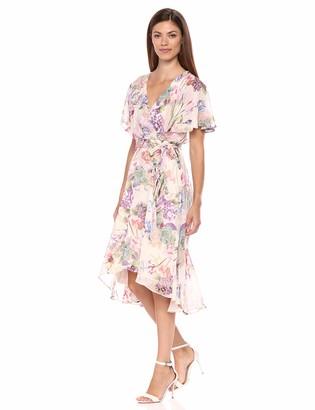 Gabby Skye Women's Short Sleeve Floral Print V-Neck Mock Cape Dress