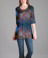 Lily Blue Floral Scoop Neck Tunic - Plus Too
