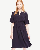 Ann Taylor Split Neck Drawstring Dress