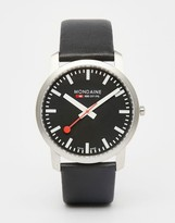 Mondaine Leather Watch In Black 41mm