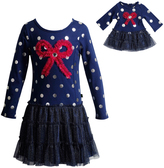 Dollie & Me Navy Bow-Accent Skater Dress & Doll Dress - Girls