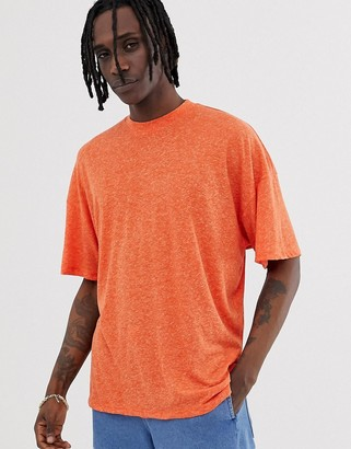 Asos Design DESIGN oversized t-shirt with side vents in linen mix in orange