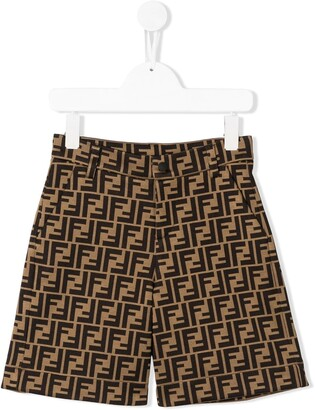 Fendi Kids FF print knee-length shorts